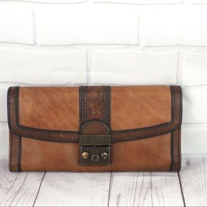 Fossil vintage reissue brown leather wallet GUC